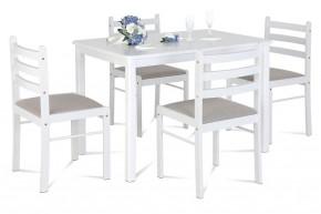 Jedálenský set Blanche - 4x stolička, 1x stôl (drevo, biela)