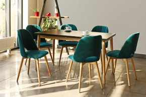 Jedálenský set Bryne-6x stolička,stôl rozklad(čierna,dub,petrol)