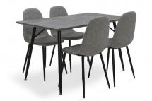 Jedálenský set Cedric - 4x stolička, 1x stôl (sivá)