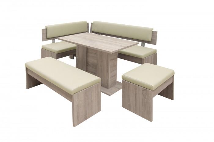 Jedálenský set Elinor - rohová lavica, stôl,2x taburetka(béžová)