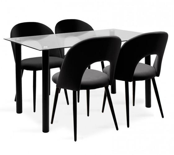 Jedálenský set Janet - 4x stolička, 1x stôl (sklo, čierna)