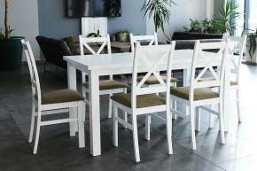 Jedálenský set Kasper-6x stolička, stôl rozkladací (biela,hnedá)
