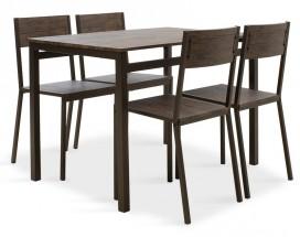 Jedálenský set Mabel - 4x stolička, 1x stôl (orech, tmavo hnedá)