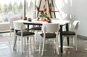 Jedálenský set Ombo-6x stolička,1x rozkladací stôl(biela,čierna)