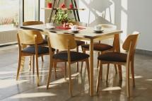 Jedálenský set Ombo-6x stolička, 1x rozkladací stôl(dub, čierna)