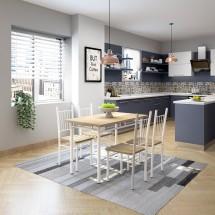 Jedálenský set Raul - 4x stolička, 1x stôl (drevo, biela)
