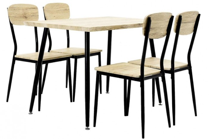 Jedálenský set Roxy - 4x stolička, 1x stôl (dub sonoma, čierna)
