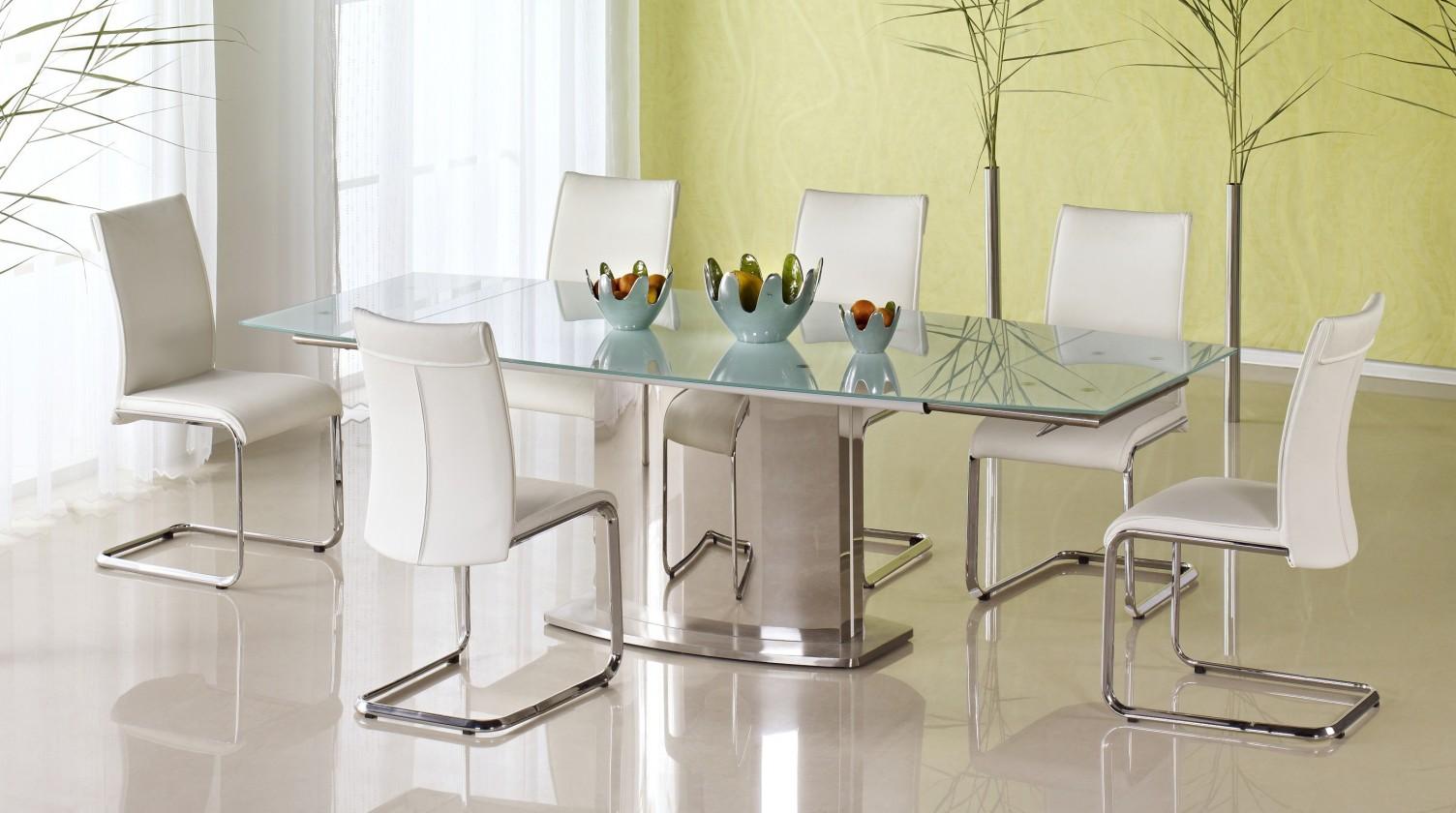 Jedálenský stôl Alessandro (sklo - mliečne / nerez)