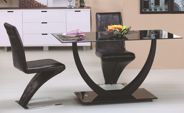 Jedálenský stôl Anton (sklo - čierna / chróm - čierna)