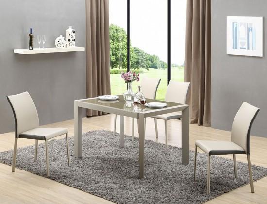 Jedálenský stôl Arabis (sklo,svetlo hnedá,béžová) - II. akosť