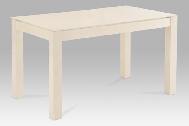 Jedálenský stôl AT - jedálenský stôl (vanilkové sklo/vysoký lesk vanilka)