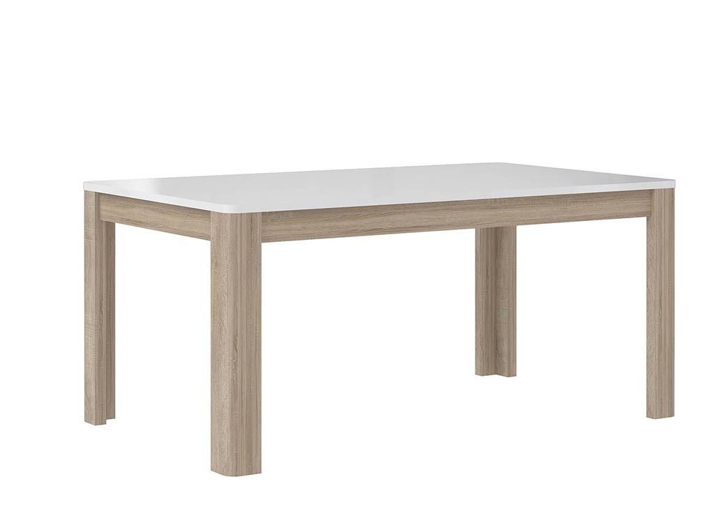 Jedálenský stôl Attention-FLOT16(P50 - biely / dub sonoma / biely lesk)