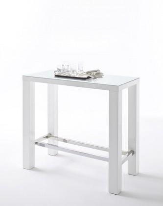 Jedálenský stôl Barový stolík Jordy (biela, strieborná, obdĺžnik)