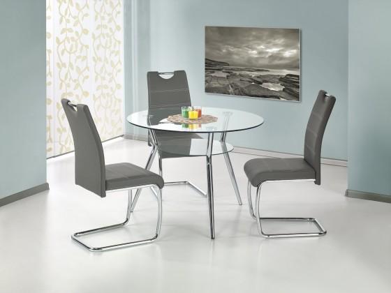 Jedálenský stôl Becker - Jedálenský stôl 100 cm (strieborná, číre sklo)