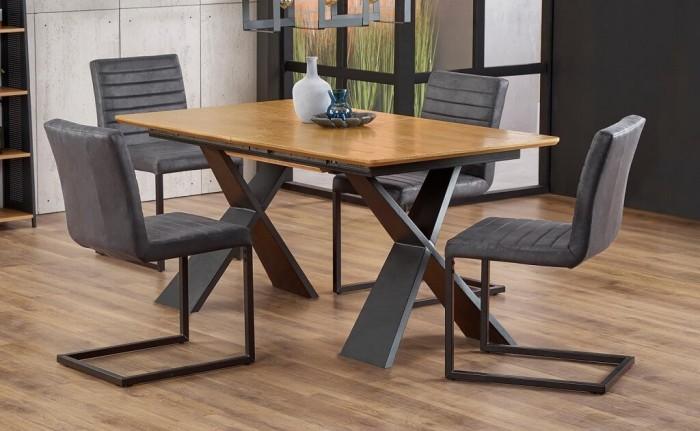 Jedálenský stôl Cassius rozkladací (dub, čierna)