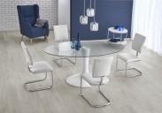Jedálenský stôl Coral - 180x100x76 cm (čirá/bílá)