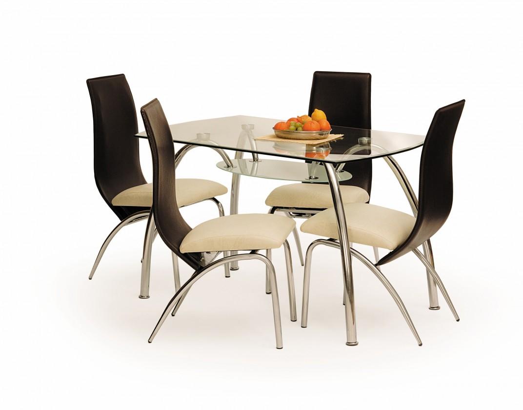 Jedálenský stôl Corwin bis (sklo - transparentné / oceľ)