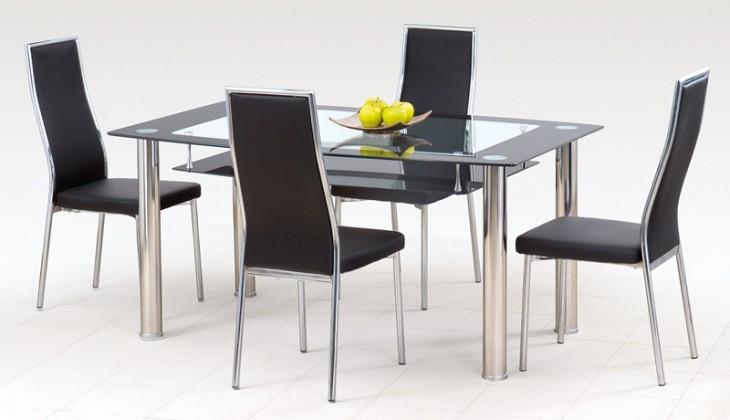 Jedálenský stôl Cristal - Jedálenský stôl, oceľ / sklo číre / sklo čierne