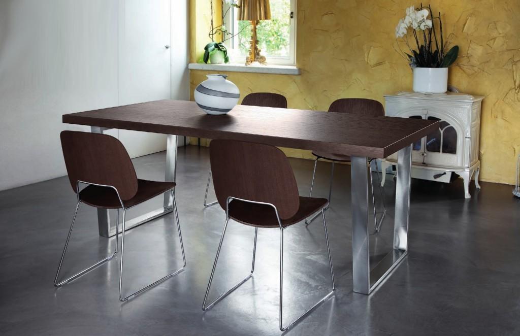 Jedálenský stôl Cruise - 240 cm (kostra nikl/deska čokoládový jaseň)