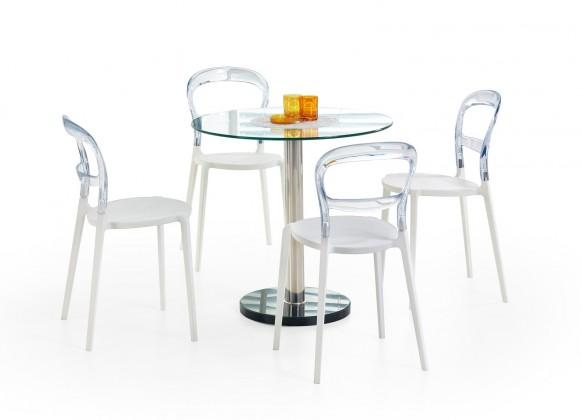Jedálenský stôl Cyryl - Jedálenský stôl 80 cm (číra, strieborná)