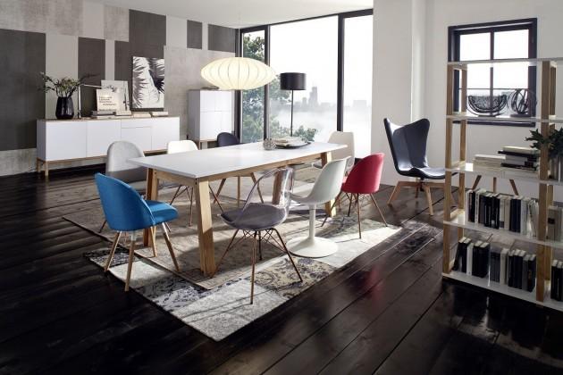 Jedálenský stôl D-BAR (dub masiv, MDF biela)