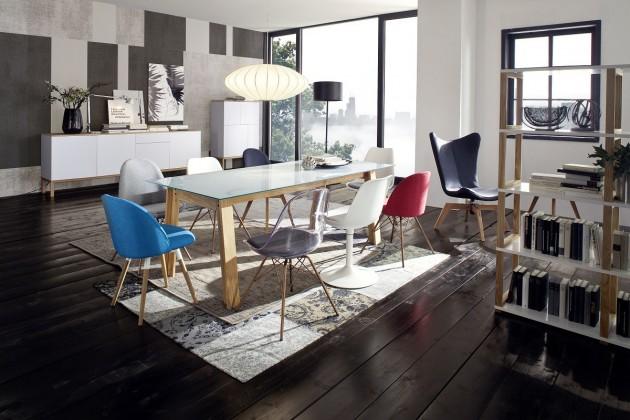 Jedálenský stôl D-BAR (dub masiv, sklo, mramor biely)