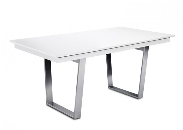 Jedálenský stôl Deck 160 cm (doska biela lesk/kostra oceľ)