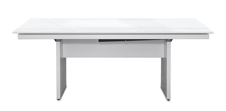 Jedálenský stôl Deck 160 cm (doska biela lesk/kostra panely biela)