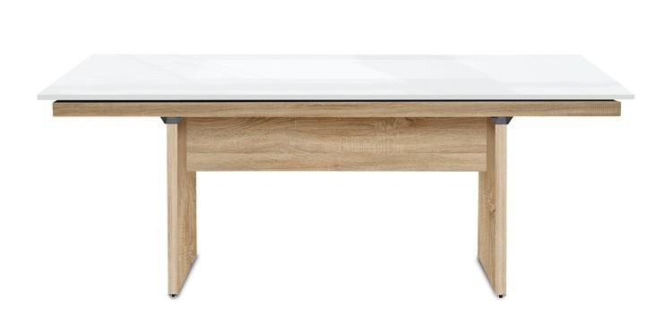Jedálenský stôl Deck 160 cm (doska biela lesk/kostra panely dub)