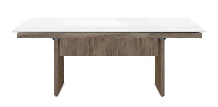 Jedálenský stôl Deck 160 cm (doska biela lesk/kostra panely tmavý dub)