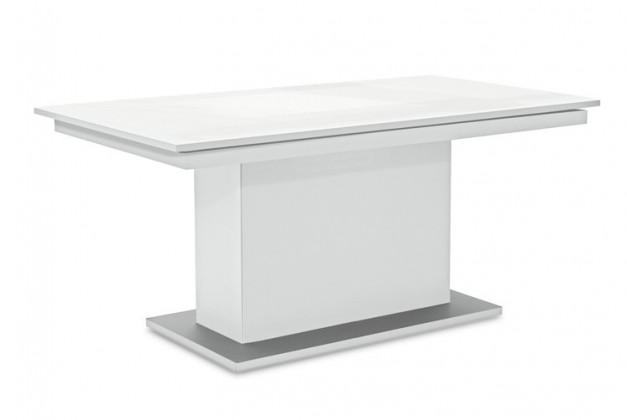 Jedálenský stôl Deck 160 cm (doska biela lesk/kostra postavec biela)