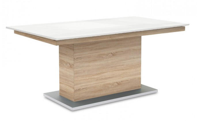 Jedálenský stôl Deck 160 cm (doska biela lesk/kostra postavec dub)