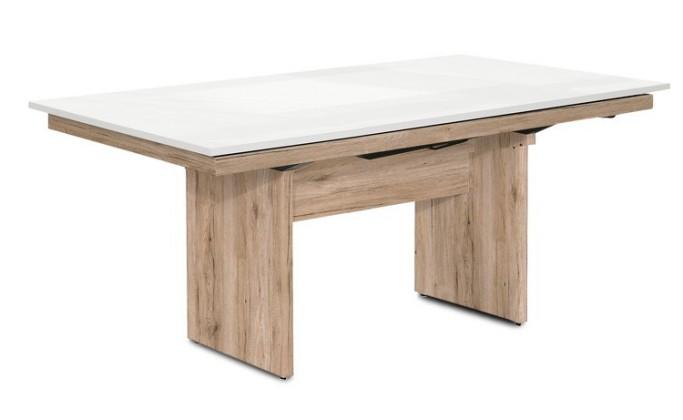 Jedálenský stôl Deck 160 cm, rozkladacia (biela lesk/kostra panely pieskový dub)