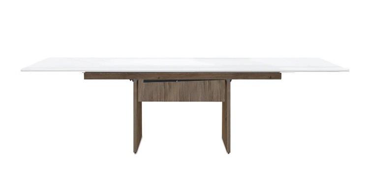 Jedálenský stôl Deck 160 cm, rozkladacia (biela lesk/kostra panely tmavý dub)