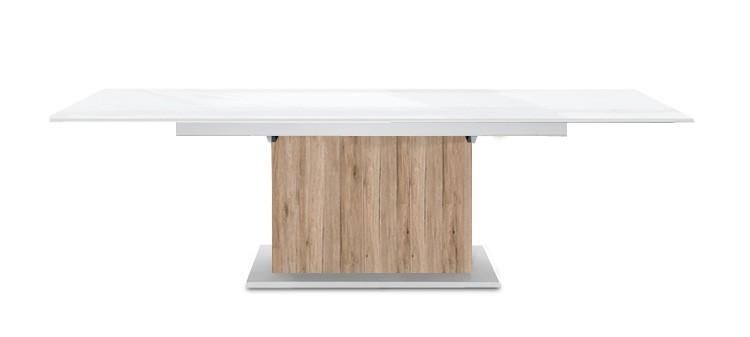 Jedálenský stôl Deck 160 cm, rozkladacia (biela lesk/pieskový dub)