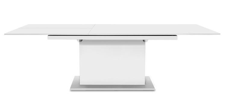Jedálenský stôl Deck 160 cm, rozkladacia (doska biela/kostra postavec biela)