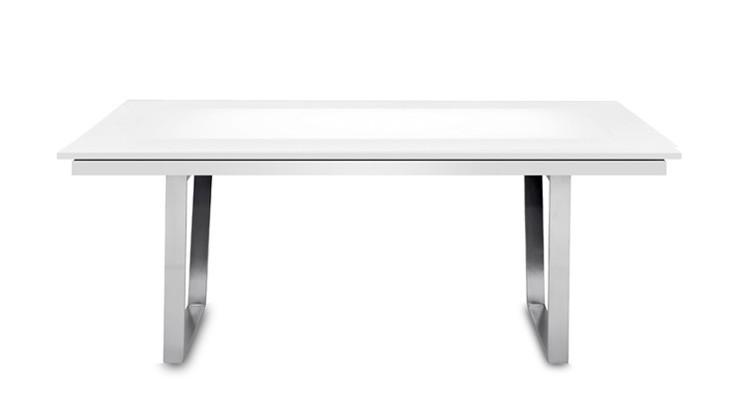 Jedálenský stôl Deck 160 cm, rozkladacia (doska biela lesk/kostra oceľ)