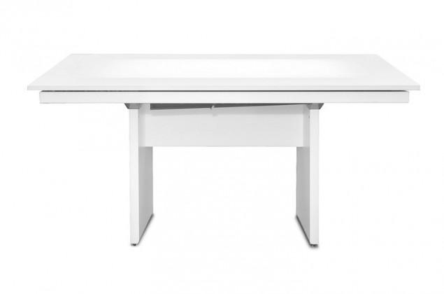 Jedálenský stôl Deck 160 cm, rozkladacia (doska biela lesk/kostra panely biela)