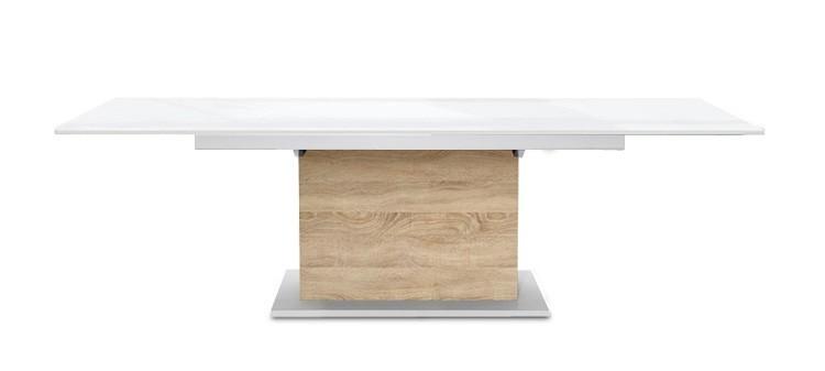 Jedálenský stôl Deck 160 cm, rozkladacia (doska biela lesk/kostra postavec dub)