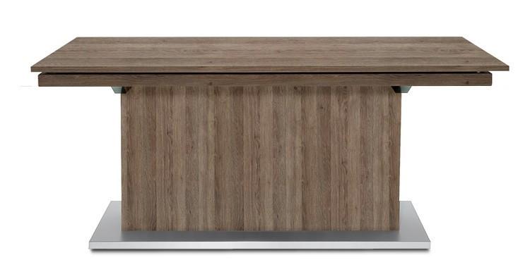 Jedálenský stôl Deck 160 cm, rozkladacia (tmavý dub/kostra postavec tmavý dub)