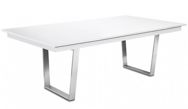 Jedálenský stôl Deck 190 cm (doska biela lesk/kostra oceľ)