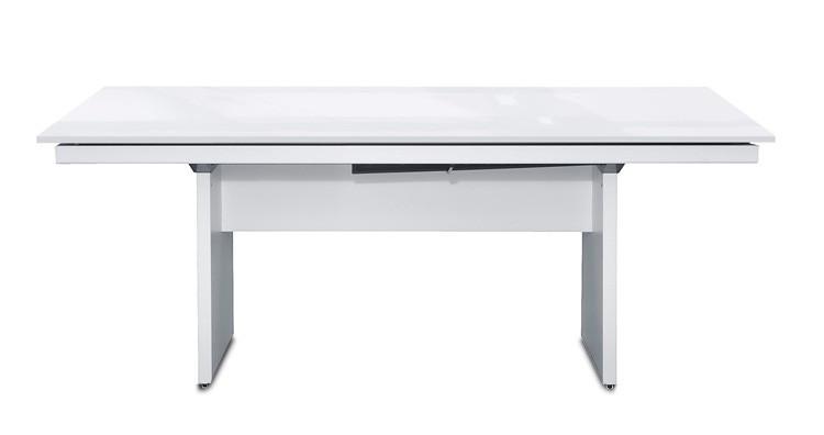 Jedálenský stôl Deck 190 cm (doska biela lesk/kostra panely biela)