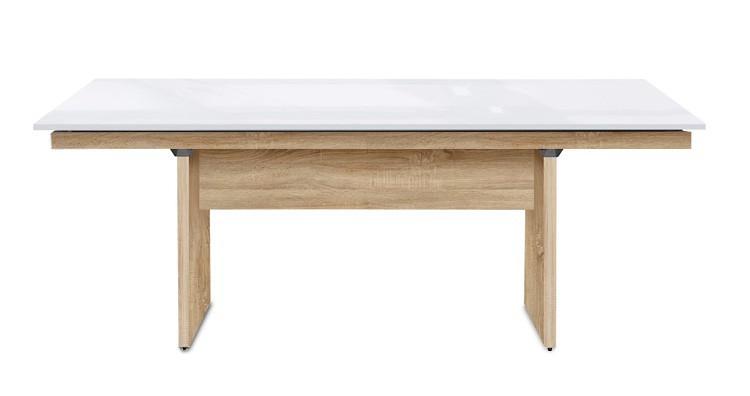 Jedálenský stôl Deck 190 cm (doska biela lesk/kostra panely dub)