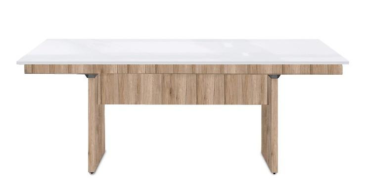 Jedálenský stôl Deck 190 cm (doska biela lesk/kostra panely pieskový dub)