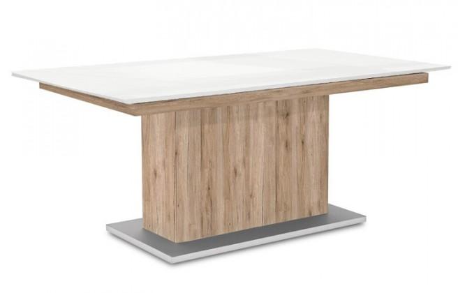 Jedálenský stôl Deck 190 cm (doska biela lesk/kostra postavec pieskový dub)