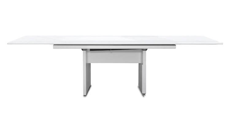 Jedálenský stôl Deck 190 cm, rozkladacia (doska biela lesk/kostra panely biela)