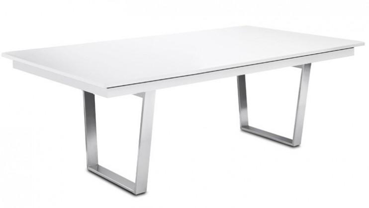 Jedálenský stôl Deck 220 cm (doska biela lesk/kostra oceľ)