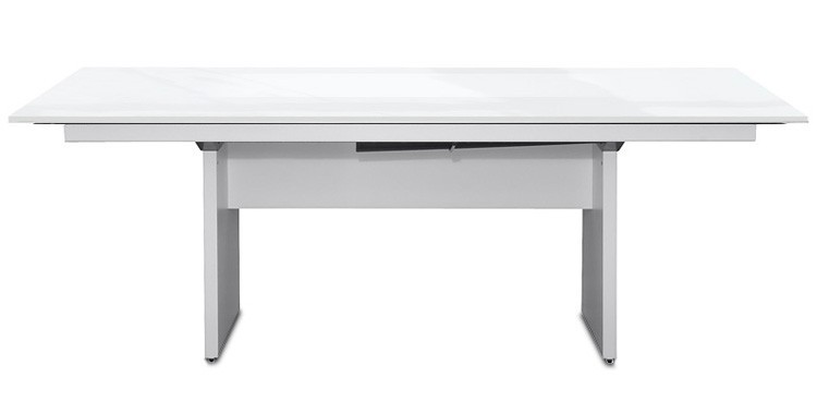 Jedálenský stôl Deck 220 cm (doska biela lesk/kostra panely biela)