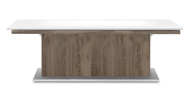 Jedálenský stôl Deck 220 cm (doska biela lesk/kostra postavec tmavý dub)