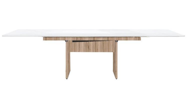 Jedálenský stôl Deck 220 cm, rozkladacia (biela lesk/kostra panely pieskový dub)